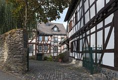 Исторические полу-timbered дома в старом городке braunfels, hess стоковое изображение rf