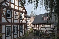 Исторические полу-timbered дома в старом городке braunfels, hess стоковое изображение