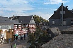 Исторические полу-timbered дома в старом городке braunfels, hess стоковые изображения
