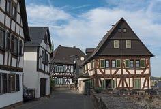 Исторические полу-timbered дома в старом городке braunfels, hess стоковая фотография