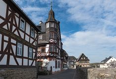 Исторические полу-timbered дома в старом городке braunfels, hess стоковое фото
