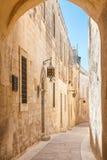 Исторические улица и архитектура Mdina Стоковое Фото