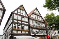 Исторические фасады в центре города города Detmold Стоковая Фотография RF