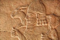 Исторический ассирийский сброс фермера с козой стоковые изображения rf