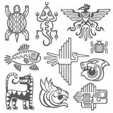 Исторический ацтек, символы вектора inca, майяская картина виска, американская культура коренного американца подписывает бесплатная иллюстрация