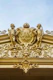 Исторический голландский орнамент на колониальном здании в Surakarta, Jav Стоковые Изображения RF