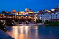 Исторический деревянный мост в Bassano del Граппе стоковая фотография rf