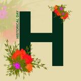 Исторический день, albhabet h с флористическим дизайном Стоковые Изображения