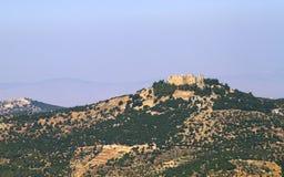 Исторический замок ajloun на горах Ajloun стоковые фотографии rf