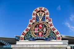 Исторический знак на мосте Blackfriars, Лондоне, Великобритании Стоковое Изображение