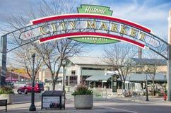 Исторический знак рынка города Kansas City Стоковые Изображения RF