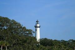 исторический маяк острова обнаружил местонахождение st simons Стоковые Фото