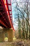 Исторический мост железной дороги красного цвета в Братиславе Стоковые Изображения RF