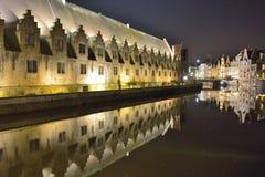 Исторический дом мяса, крытый рынок, старая часть известного средневекового города Гента Стоковая Фотография