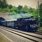 исторический поезд пара Специально запущенный чехословакский старый поезд пара для отключений и для путешествовать вокруг чехии Стоковая Фотография