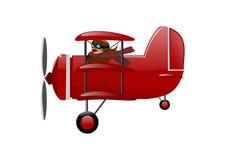 Исторический самолет - красный триплан иллюстрация штока