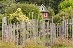 Исторический сельский дом за выдержанной деревянной загородкой Стоковые Изображения RF