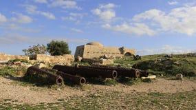 Исторический старый городок Rethymno с старой артиллерией Греция стоковая фотография rf
