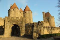 Исторический укрепленный город Carcassone, Франции Стоковая Фотография