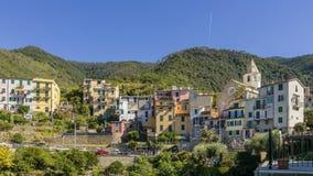 Исторический центр городка холма Corniglia, Cinque Terre, Лигурии, Италии стоковые изображения