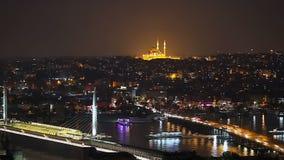 Исторический центр Стамбула на заходе солнца Золотой рожок, Турция видеоматериал