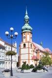 Исторический центр с церковью st Джейкоба в городке Sokolov, западном Boh Стоковые Фото