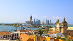 Исторический центр Cartagena, порта и boca больших Стоковые Фото