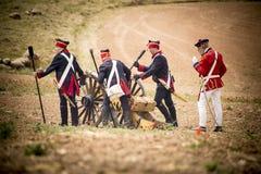 Исторический reenactment наполеоновских войн, в Бургосе, Испания, 12-ого июня 2016 Стоковая Фотография