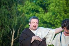 Исторический reenactment работорговли в старом Риме Стоковые Фото