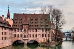 Историческое здание больницы святого духа в Нюрнберге Стоковые Фото