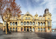 Историческое здание порта в Барселоне Порт Vell на гавани a Стоковое Изображение