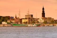 Историческое парусное судно Rickmer Rickmers в Гамбурге, Германии Стоковая Фотография