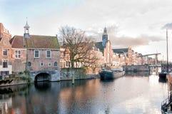 Историческое Delfshaven, порт гавани и отцы паломника Роттердама, Нидерланд стоковая фотография