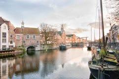 Историческое Delfshaven, порт гавани и отцы паломника Роттердама, Нидерланд стоковая фотография rf