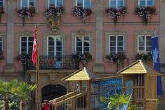 историческое schwaebisch города gmuned орнаменты и фасады деталей Стоковое Изображение