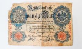 История немецкой банкноты Zwanzig Марк 1914 - WW1 стоковые изображения