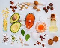 Источники еды выбора омеги 3 Супер еда высокая омега 3 и Стоковые Изображения RF