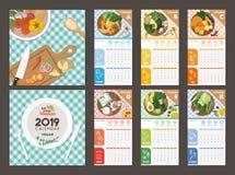 Источники Vegan календаря 2019 витаминов иллюстрация вектора