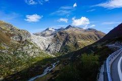 Источник реки Роны на леднике rhone стоковое фото rf