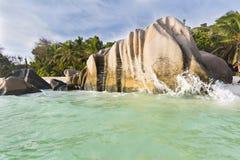 источник Сейшельских островов la digue anse argent d Стоковое Изображение RF