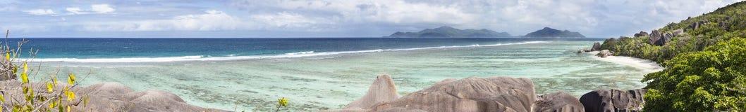 источник Сейшельских островов la digue anse argent d Стоковое Изображение