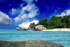Источник Anse d'Argent - Сейшельские островы стоковые фото