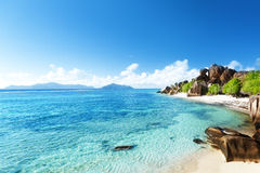 Источник d'Argent, остров пляжа Digue Ла Стоковое Изображение