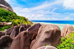 Источник d'argent, остров Anse Digue Ла Сейшельские островы Стоковое фото RF