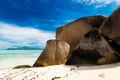 Источник d'argent, остров Anse Digue Ла Сейшельские островы Стоковая Фотография