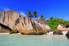 Источник d'Argent Сейшельские островы Anse пляжа Стоковая Фотография