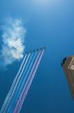 Истребительная эскадрилья на параде в Москве Стоковые Изображения RF