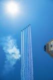 Истребительная эскадрилья на параде в Москве Стоковое фото RF