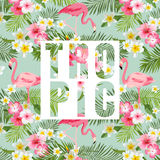 листья цветков тропические Тропическая предпосылка фламинго иллюстрация вектора