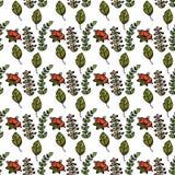 листья ягод делают по образцу безшовное Иллюстрация fo вектора Стоковые Фото